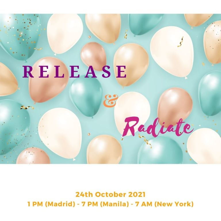 Colorful balloons and text: Release and Radiate